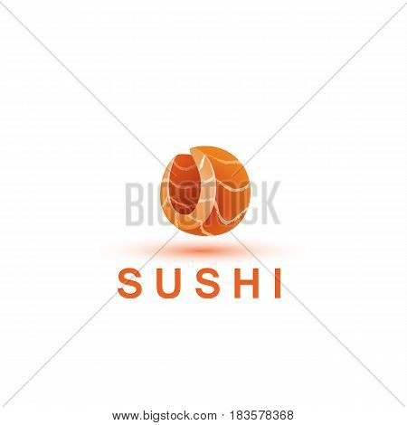 Sushi logo template. The letter O looks like a fresh piece of salmon fish.