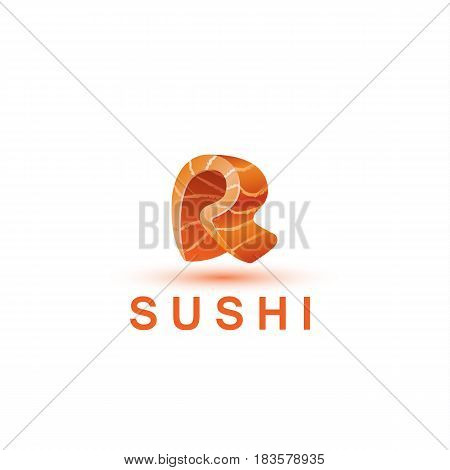 Sushi logo template. The letter R looks like a fresh piece of salmon fish.