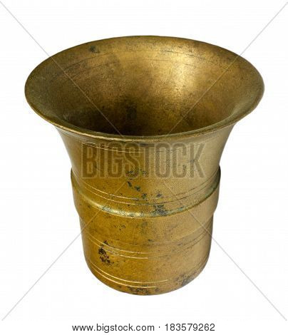 Bronze mortar isolated on white in golden color