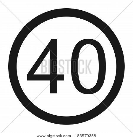 Maximum speed limit 40 line icon Traffic and road sign vector graphics a solid pattern on a white background eps 10.