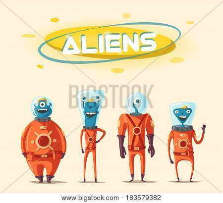 Friendly aliens. Cartoon illustration. Ufo. Retro poster. Space theme. Funny monsters mutant character. Web banner