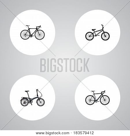Realistic Exercise Riding, Folding Sport-Cycle, Extreme Biking And Other Vector Elements. Set Of Bike Realistic Symbols Also Includes Bike, Extreme, Bicycle Objects.