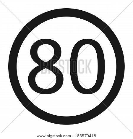 Maximum speed limit 80 line icon Traffic and road sign vector graphics a solid pattern on a white background eps 10.