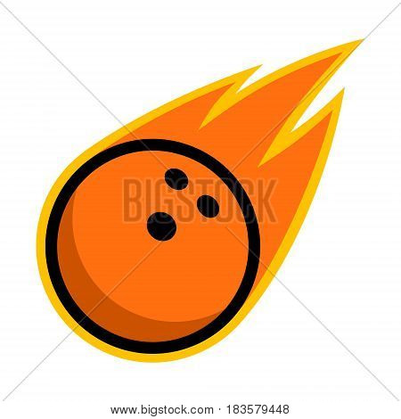 Bowling ball sport comet fire tail flying strike logo
