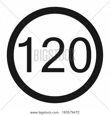 Maximum speed limit 120 line icon Traffic and road sign vector graphics a solid pattern on a white background eps 10.