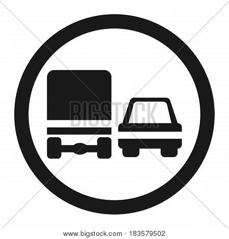 Overtaking ban for truck prohibition sign line icon Traffic and road sign vector graphics a solid pattern on a white background eps 10.