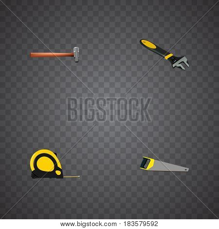 Realistic Handle Hit, Hacksaw, Wrench Vector Elements. Set Of Instruments Realistic Symbols Also Includes Spanner, Sledgehammer, Hacksaw Objects.