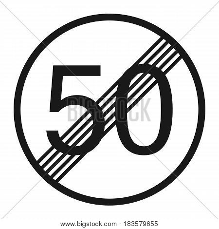 End maximum speed limit 50 sign line icon Traffic and road sign vector graphics a solid pattern on a white background eps 10.