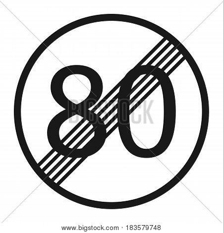 End maximum speed limit 80 sign line icon Traffic and road sign vector graphics a solid pattern on a white background eps 10.