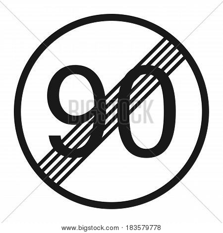 End maximum speed limit 90 sign line icon Traffic and road sign vector graphics a solid pattern on a white background eps 10.