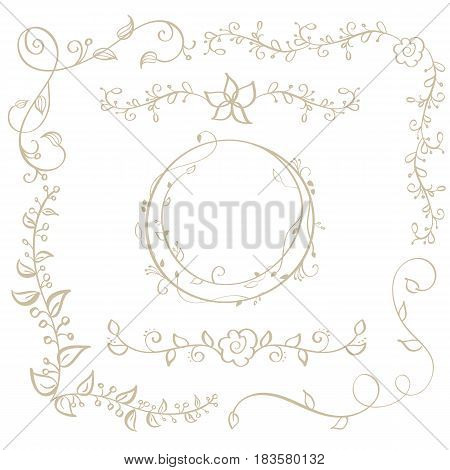 round frame and decorative vintage corners with leaves isolated on background. Vector calligraphy illustration EPS10.