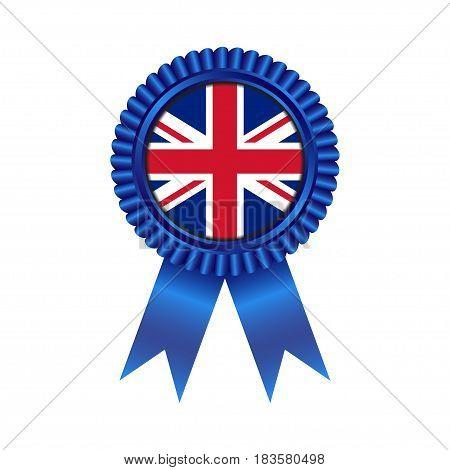 Medal with United Kingdom flag illustration design isolated on white background
