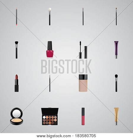 Realistic Beauty Accessory, Multicolored Palette, Varnish And Other Vector Elements. Set Of Maquillage Realistic Symbols Also Includes Blush, Concealer, Stick Objects.