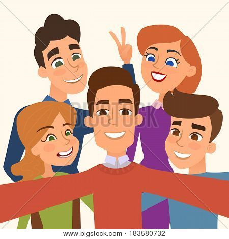 People group taking selfie photo . Friends take a picture. Vector illustration.