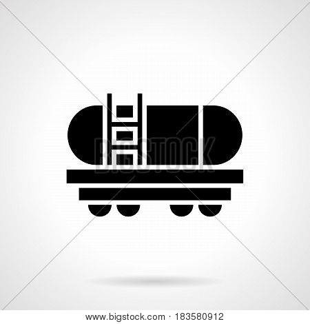 Monochrome abstract symbol of cistern wagon. Railroad transportation of liquid freights. Symbolic black glyph style vector icon.