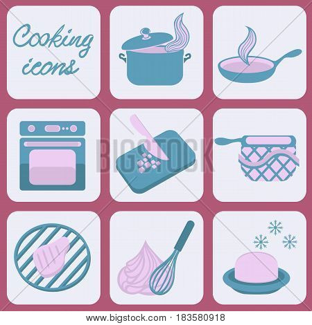 Cooking icons for your design. Vector illustration.