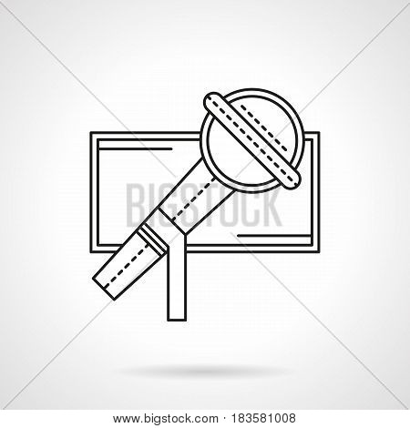 Close-up image of microphone. Symbol for show, singing festivals, karaoke and other events. Flat black line vector icon.