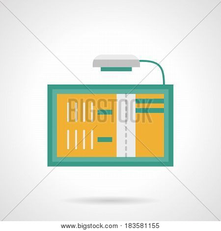 Yellow board with green frame and light for announcement. Advertising places and elements. Flat color style vector icon.