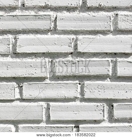 Closeup detail of white brick wall texture for background