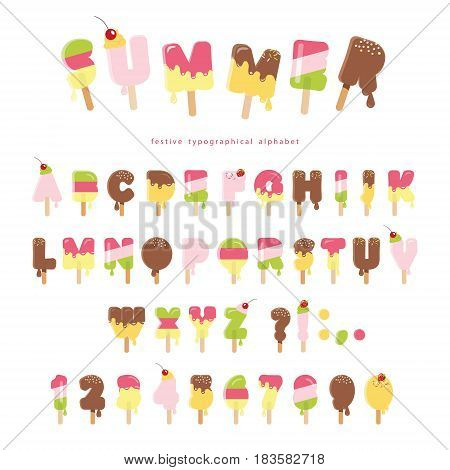 Ice cream melted font. Popsicle colorful letters and numbers can be used for summer design. Isolated on white. Vector.