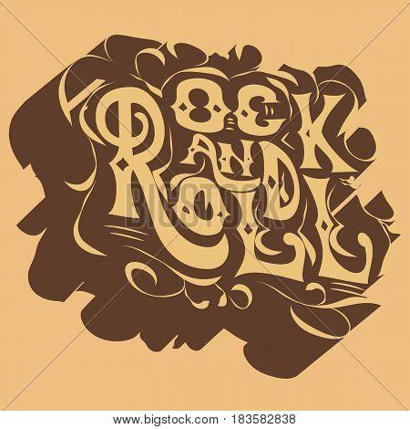 Rock music print, hipster vintage label, graphic design with grunge effect, rock-music tee print stamp design. t-shirt print lettering artwork