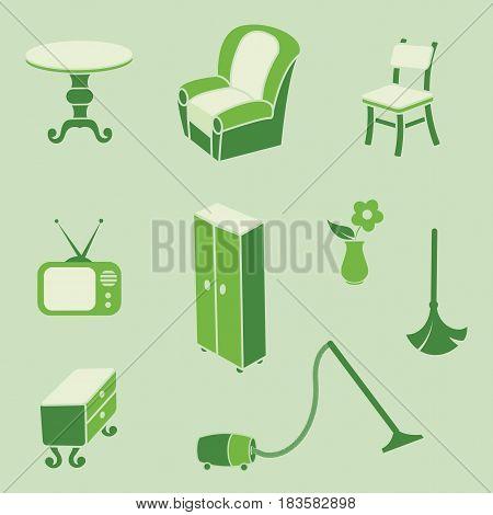 Retro style furniture theme collection set vector illustration.