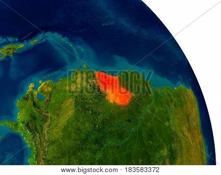 Guyana On Model Of Planet Earth