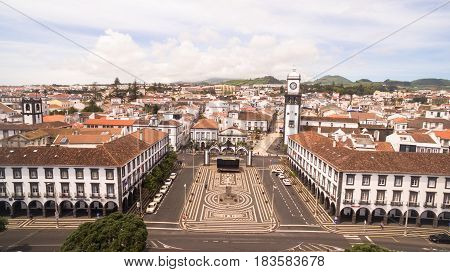 Top view of Praca da Republica in Ponta Delgada, Azores, Portugal.