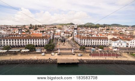 Aerial view of Praca da Republica in Ponta Delgada, Azores, Portugal