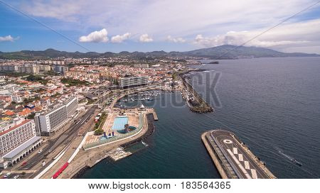 city view with harbor at Ponta Delgada, capital city of the Azores at Sao Miguel Island