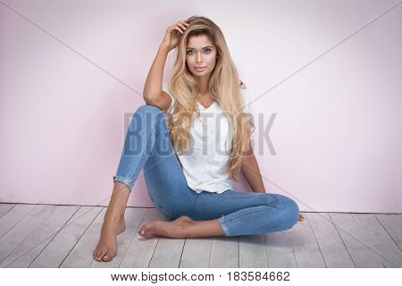Fashionable Woman On Pink Background.