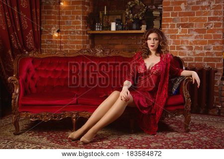 Sexual Emotional Attractive Woman Posing In A Boudoir