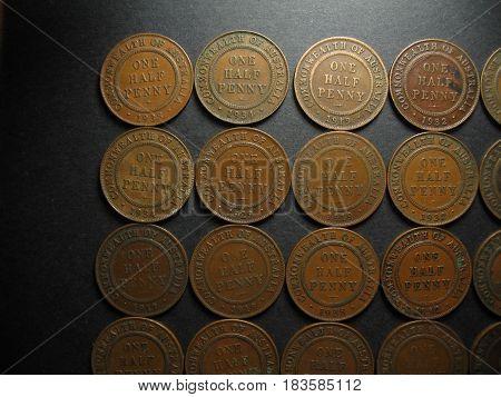 Pre Decimal One Half Penny Vintage Australian Coin Collection. Reverse side.