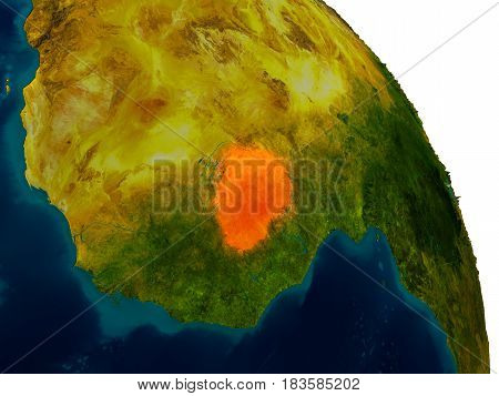 Burkina Faso On Model Of Planet Earth