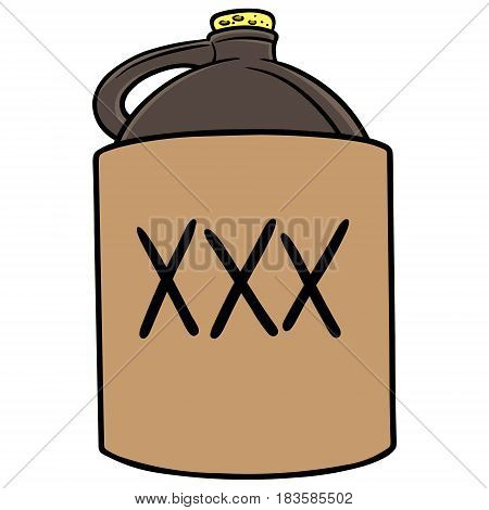 A vector illustration of a jug of Moonshine.