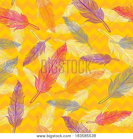 Vintage vector seamless colorful feathers pattern .