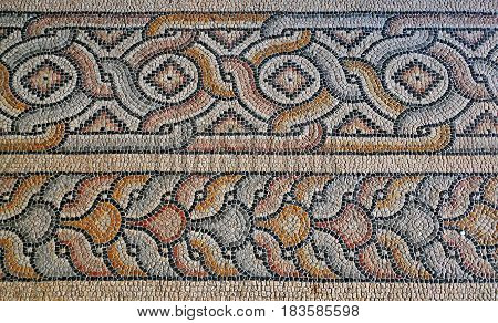 Mediterranean mosaic with traditional ornaments in the Grandmaster's Palace in Rhodes