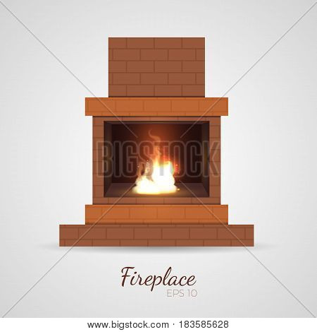 Living room fireplace. Cute and cozy burning flame inside brick frame construction. For christmas and postcards decoration. Vector illustration in realistic style, isolated on white baсkground.