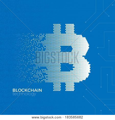 Blockchain technology concept. Vector illustration of distributed database for cryptography, virtual money, secure e-business or web security. Bitcoin digital currency symbol from square particles.