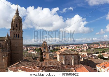 View of Salamanca and a La Clerecia Tower seen from its roof
