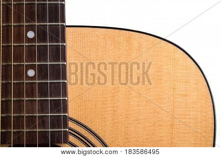 Part Of An Acoustic Guitar, Deck And Vulture, On A White Isolated Background. Horizontal Frame