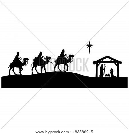 A vector illustration of a silhouette of the 3 wise men.