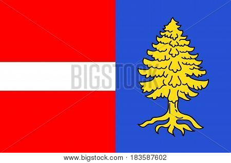 Flag of Thann is a commune in the northeastern French department of Haut-Rhin in Grand Est. Vector illustration
