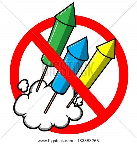 A vector illustration of a No Fireworks warning sign.