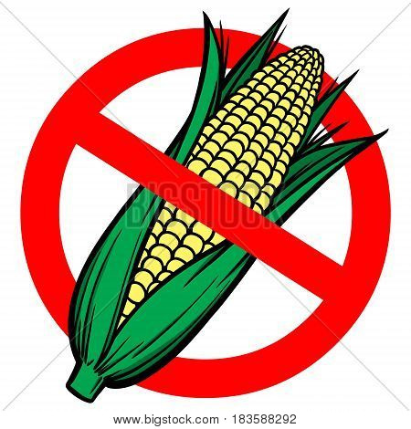 A vector illustration of a No High Fructose Corn Syrup warning sign.