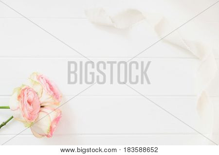 Floral Flatlay Mockup Styled Stock Photograph