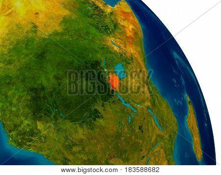 Rwanda On Model Of Planet Earth