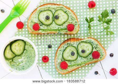 Healthy sandwich for kids shaped cute frog face