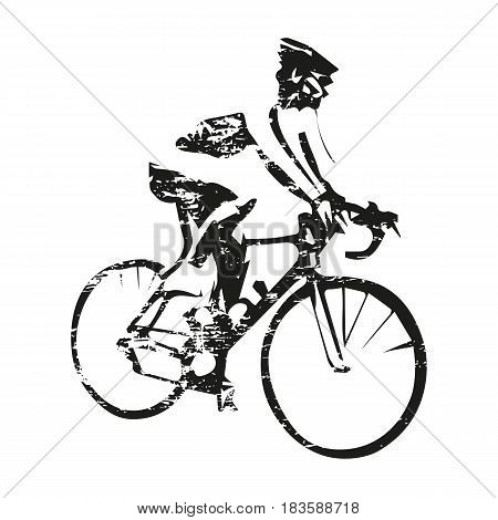Road cycling scratched cyclist on bike abstract grungy vector silhouette