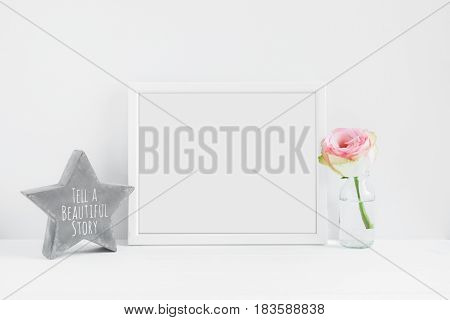 Frame Mockup Floral Styled Stock Photograph